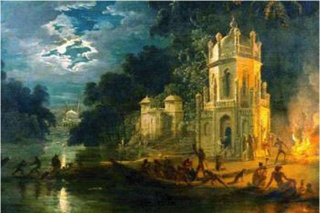 ১৭৮৭ সালে চিত্রশিল্পী জোহান জেফানির আঁকা নাগাপন ঘাটের ছবিতে কলম্বো সাহেবের সমাধি